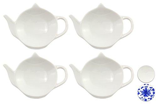 Set of White Porcelain Ceramic Teapot-Shaped Tea Bag Coasters, Spoon Rests; 4-Pack Classic Tea Time Saucer Set (Bags For Teapot Tea)