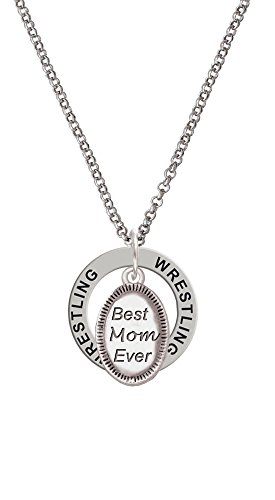 Best Mom Ever Oval - Wrestling Affirmation Ring Necklace by Delight Jewelry