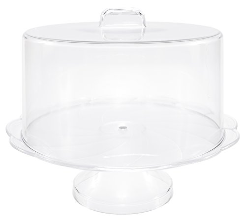 Break Resistant Plastic Cake Stand with Cover, Cake Plate with Dome, Pedestal Covered Dessert Display - 10