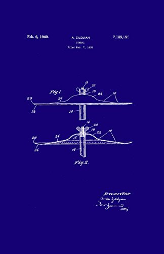 Framable Patent Art Original Nirvana Zildjian Cymbal Rock 11in by 17in Poster Print Dark Blue PAPSSP195MB from Framable Patent Art