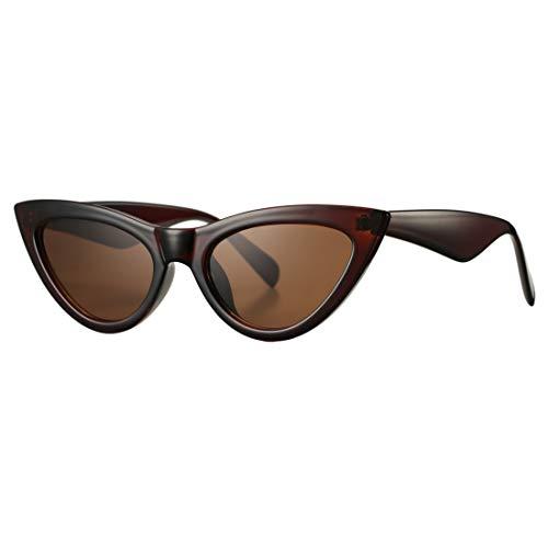 Retro Small Cateye Sunglasses for Women Fashion Mirror UV400 Protection Narrow Slim Cat Eye Sun Glasses(Brown Frame/Brown Lens) -