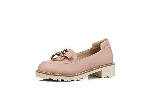 Mei&S Ronda de Mujeres Toe Zapatos de Tacón bajo de Boca Superficial Pink