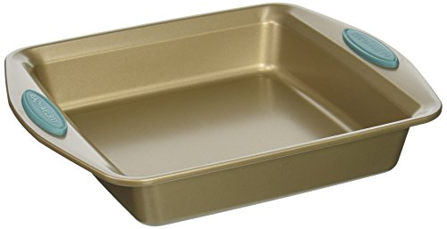 "Rachael Ray 46681 9"" with Agave Blue Handles Cucina Nonstick Bakeware Square Cake Pan, Medium, Latte Brown"