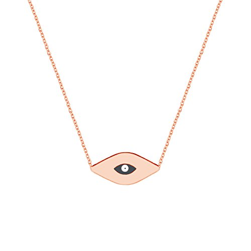 (Ritastephens 14k Solid Rose Pink Gold Mini Evil Eye Good Luck Pendant Charm Necklace Adjustable from 16