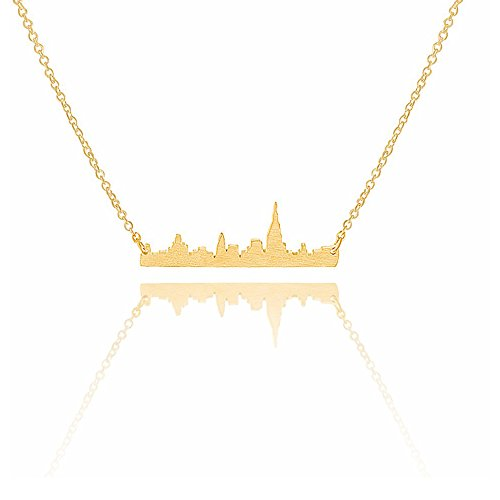 Manhattan Cityscape - Art Attack Goldtone New York City Manhattan Skyline Cityscape NYC Pendant Necklace