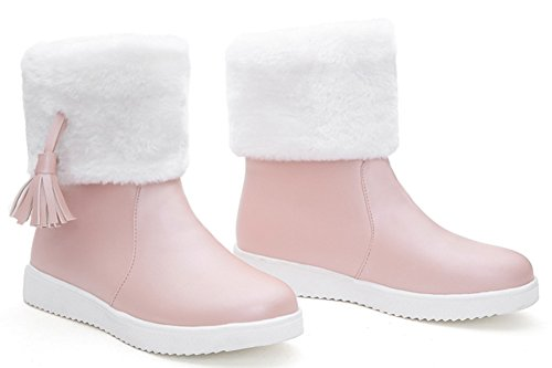 IDIFU Womens Warm Fringes Faux Fur Lined Winter Boots Thick Ankle High Snow Booties Pink JfmwcVDw