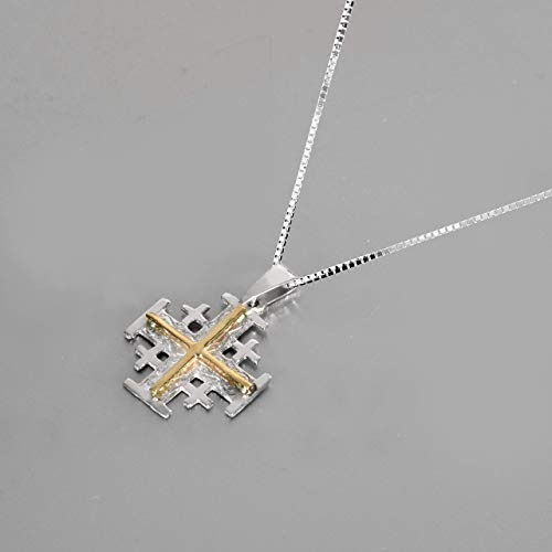 (Holy Land Jerusalem Cross Pendant jewelry, 9K Gold & 925 sterling silver pendant, Exclusive Born Again Religious jewelry, Sterling silver necklace chain free)