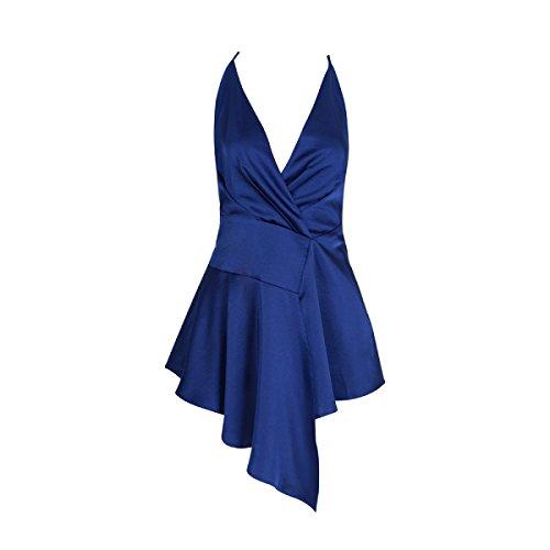 Cuello De Vestido Baile Atractivo Cumpleaños Cóctel Mujeres Halter Sin Alta Elegante Chica Cintura Azul Mangas Banquete a0nAqX6