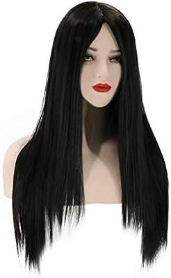 Peluca negra de fibra química larga recta pelo liso cosplay diario use una peluca para hacer que su belleza sea más prominente: Amazon.es: Belleza