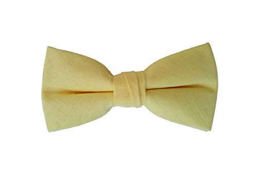 Born to Love - Boys, Baby, Toddler Pre Tied Adjustable Bow Tie Solid Linen, Cotton, Polyester, Shinny (Medium, Yellow Linen)
