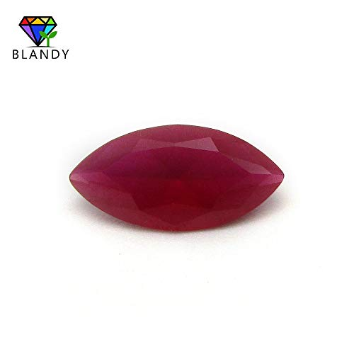 Calvas Frosted Bottom 5# Red Stone 2x4mm~7x14mm Marquise Cut Unpolished Synthetic Rubi Corundum Stone for Sale - (Item Diameter: 3.5x7mm(20pcs))