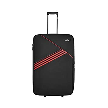 Safari Angle 80 Cms Polyester Black Check-In 2 Wheels Soft Suitcase