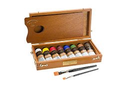 Charvin Extra-Fine Artists' Acrylic Paint and Solid Wood Box Set- Includes 8 60ml Paint Tubes