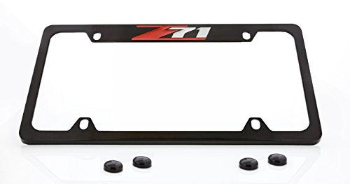 Chevrolet Z71 License Plate Frame Holder (4 Hole / Brass, Black / Top) ()