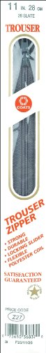 COATS&CLARK F26 11-26 Plastic Trouser Zipper, 11-Inch, Slate (Trouser Zipper Plastic)