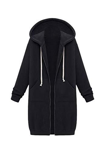 Zip Giacca Black Incappucciati Jumojufol Donne Casuale Le Cordoncino Pieno Sweatershirts wtzZzYq