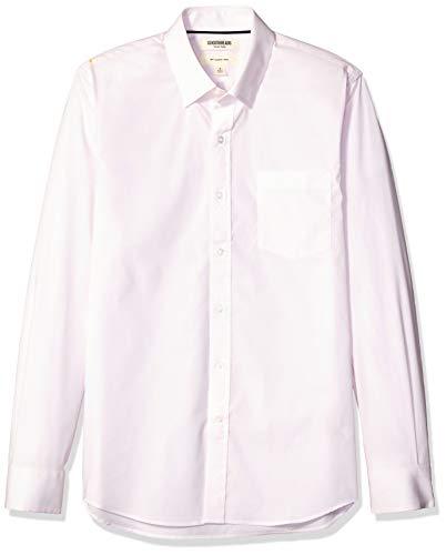 (Goodthreads Men's Slim-Fit Long-Sleeve Stretch Poplin (All Hours), Pink Mini Stripe, Medium)