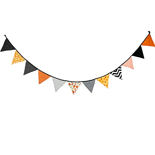 10.5 Feet Triangle Flag Banner Bunting Pennant for Kids Teepee Tent,Party and Room Decoration,12 Pcs Double Sided Cotton Fabric Flag by Steegic (Halloween Theme) ()