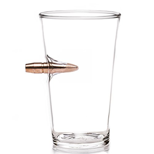 Lucky Shot .50 Cal Real Bullet Handmade Pint Glass