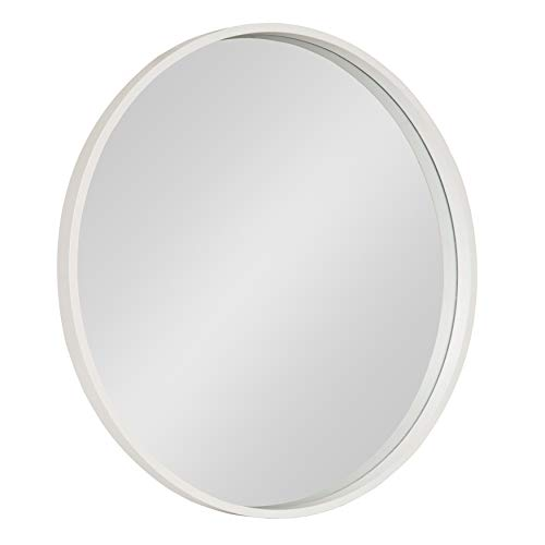 "Kate and Laurel Travis Round Wood Accent Wall Mirror, 25.6"" Diameter, White"