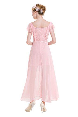 Moda noche línea vestido mujer espaguetis 00633 Pink de Mena encaje UK de de RqHBBw