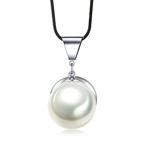 SHINCO Single Round White Created Pearl Pendant Necklace for Women Choker Jewelry Gifts for Graduation, 19