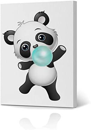 Cute Panda Bubble Gum Art Teal Blue Canvas Print Animal Print Black and White Wall Art Home Decoration Nursery Room Kids Room Decor Ready to Hang