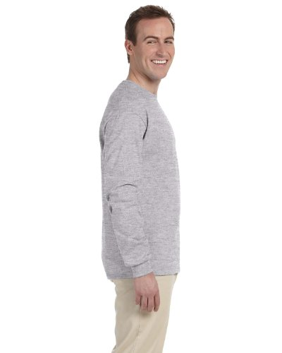 Gildan Men's Ultra Cotton Adult Long Sleeve T-Shirt, 2-Pack, Sport Grey, 2X-Large (50 Long Sleeve T-shirt)