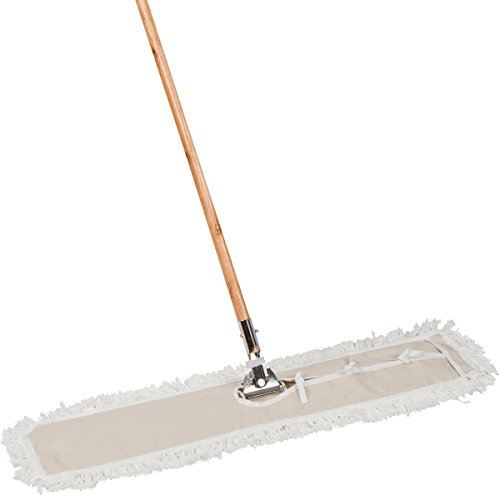 AMR Market Commercial Strength Dust Mop With Solid Wood Handle and Metal Frame. 36'' X 5'' Wide Cotton Mop Head - Hardwood Floor Broom