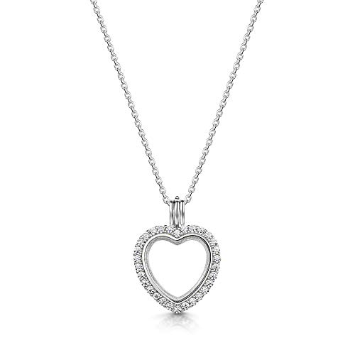 - Amberta 925 Sterling Silver - Heart Shape Pendant with Cubic Zirconia CZ Crystal - Floating Opening Locket for Women - for Birthstone Charm or Photo