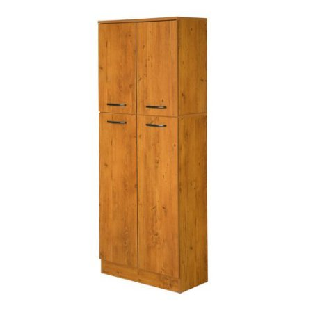Smart Four Door Storage Pantry, Elegant and Practical Food Storage Pantry, Perfect Fit for Your Needs, Ideal for Putting Away Food as Well as Kitchen Accessories, Country Pine + Expert Guide by eCom Rocket (Image #2)