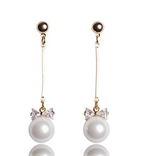 MISASHA Celebrity Designer Faux Imitation Pearl Bowtie Studs Earrings - Christian Dior Designer Purse