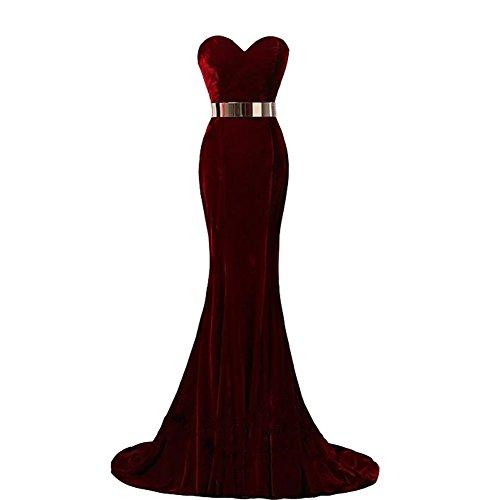 Plus Size Mermaid Long Velvet Prom Dress Gold Sash Evening Gown Burgundy US 20W