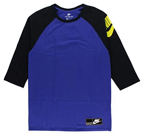 Nike Mens NSW 3QT Heavyweight Raglan Baseball T-Shirt Deep Night Blue/Black/Electrolime 834656-512 Size Large