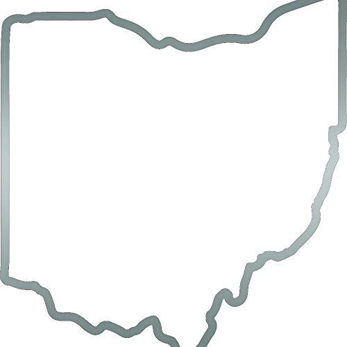 ANGDEST Ohio MAP Outline (Metallic Silver) (Set of 2) Premium Waterproof Vinyl Decal Stickers for Laptop Phone Accessory Helmet Car Window Bumper Mug Tuber Cup Door Wall Decoration