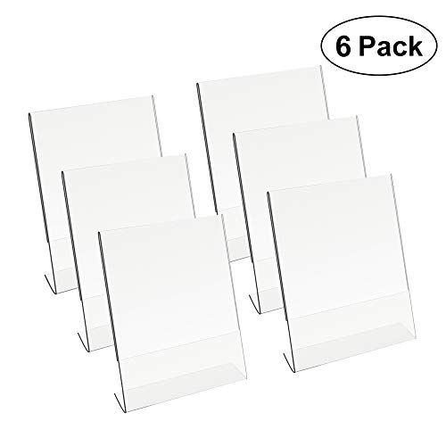 8.5 X 11 Acrylic Sign Holder Slant Back Design Clear Table Single Sheet Portrait Ad Frames for Home, Office, Store, Restaraunt - 6 Pack (6)