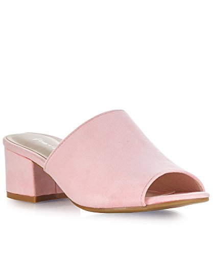 RF ROOM OF FASHION Women's Low Slip On Slide - Open Toe Mules - Comfortable Everyday Block Heel Sandals - Trendy Slipper Shoe Pink (Light Pink Slides)