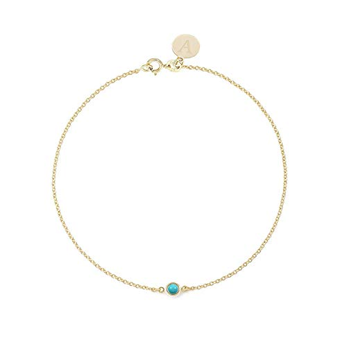 TousiAttar Turquoise Bracelet - Real 14k or 18k Yellow Rose White Gold - Round Bezel set Solitaire Charm - 0.05 CT blue turquoise bracelets jewelry Personalized for Women - Free Initials Engraving