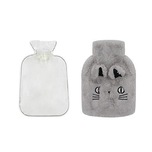Rubber Hot Water Bottle, Cute Warm Water Bag with Plush Fleece Cover, Hand Feet Belly Warmer ()