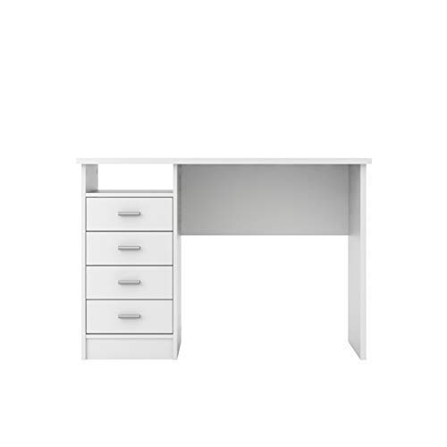 Tvilum Warner Desk with 4 Drawers, White (White Small Drawers)