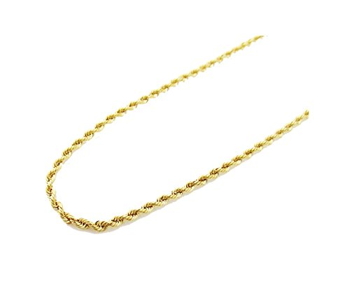 14K Gold Italy Yellow Rope Chain 24'' 2mm wide Hollow by Melano Creation