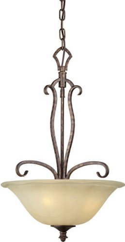 Forte Lighting 2316-03-21 Traditional 3-Light Pendant with Umber Sand Glass, Rustic Spice Finish by Forte Lighting 21 Rustic Spice