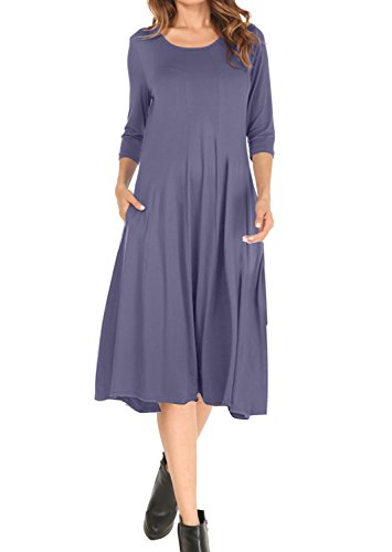 MOLERANI Women's 3/4 Sleeve A-line and Flare Midi Long Dress With Pockets Purple Gray S (Dress Seamed Knit)