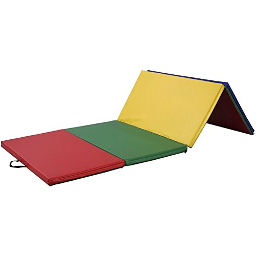 4''X8''X2'' Folding Panel PU Gymnastics Yoga Tumbling Pad Aerobics Stretching Thick Exercise Fitness Floor Mat For Home And Kids 4 Colors Multicolored Mat by Auténtico