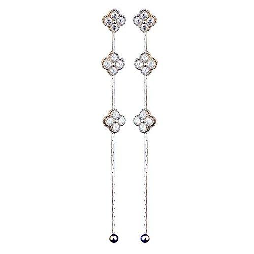 - LuckySHD 925 Sterling Silver Crystal Clover Dangle Earring Long Tassel Stud Earring