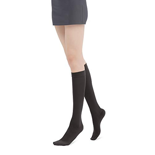 Fytto 1007 Womens Compression Socks - Stylish, Lightweight & Breathable 15-20mmHg Flight Stockings - Professional Support for Business & Travel, Slip-Resistant, Black, Large