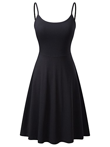 VETIOR Women's Sleeveless Adjustable Strappy Flared Midi Skater Dress Large Black