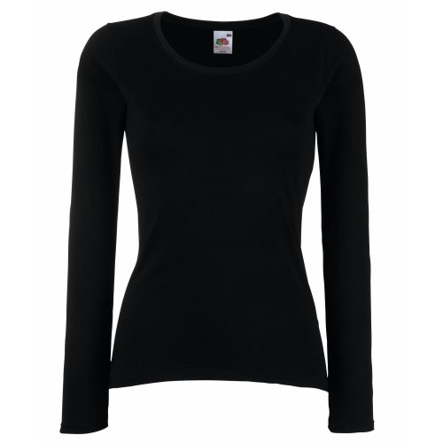Fruit Of The Loom - Maglia Manica Lunga - Donna (S) (Nero)