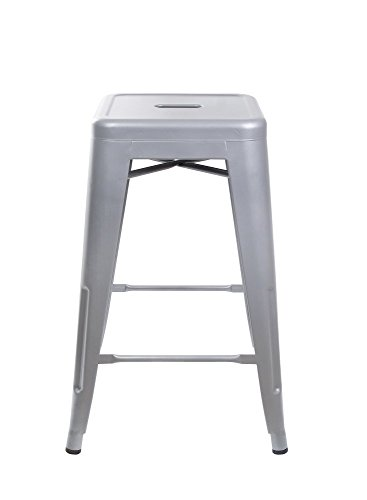 "GIA Gray 24"" Metal Stool(1 PACK) - Counter Height Square Backless - Tolix Style - Weight Capacity of 300+ Pounds - Ready to use - Extra Durable and Stackable"