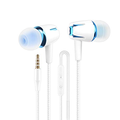 Headset Wired Earplugs, Noise-Canceling Headphones with Microphone, Heavy Bass, Compatible with Phones, Tablets and…